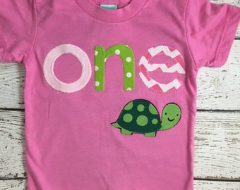 first birthday tee, girl's birthday shirt, Turtle party Baby turtle shirt perfect for turtle themed party Birthday Shirt Organic Blend