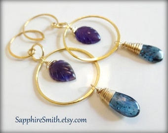 NATURAL INSTINCTS Gemstone Earrings, Carved Amethyst, Royal Moss Kyanite, Bali Gold Vermeil Hoops, violet purple, February birthstone