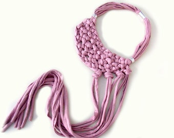 Knotted Statement Necklace, Pink T-shirt Yarn Necklace, Bib Necklace