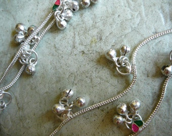 silver anklet costume jewellery goddess wear ethnic princess with bells and hearts