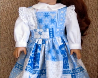"Blue & White Hanukkah Print 3 Piece Set Pinafore, Blouse and Headband Fits American Girl Dolls or Similar 18"" Doll"