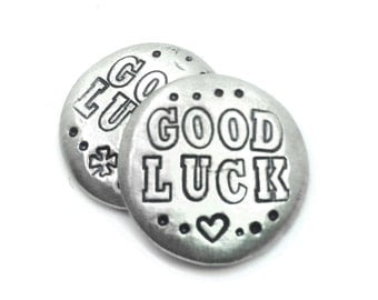 personalized lucky charm, good luck, pocket token, four leaf clover, good luck charm, travel, graduation gift, wallet insert