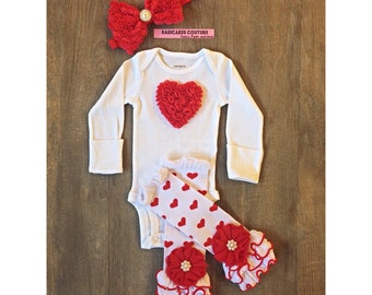 Baby Girl Outfit, Babys 1st Valentine, Red Hearts Outfit, Baby Girl Valentine Outfit, Newborn Take Home Outfit, Red Baby Outfit, Red Layette
