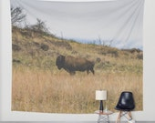 Bison Wall Tapestry, Nature Tapestry, Oklahoma, WildlifeTapestry, Buffalo Tapestry Wall Hanging, Nature Decor,  Wichita Mountains
