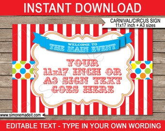 Carnival Welcome Sign - Carnival Party or Circus Party - INSTANT DOWNLOAD with EDITABLE text - pdf template - 11x17 inches and A3 sizes