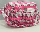 Doll size Diaper Bag in Hello Kitty in Raspberry and White with Raspberry Polka Dot Lining and all the goodies!