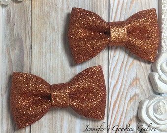 Two ORANGE Glitter Bows- 3 inch glitter Bow- Bow Applique- DIY Bows- Bows- Wholesale- DIY Heaband Supply