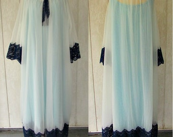 vintage 60s sheer chiffon peignor nightgown robe set 4X lane bryant plus size white navy blue free shipping