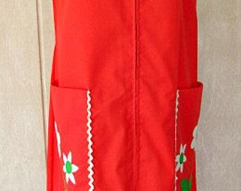 vintage 60s coral sundress front zip house shift dress 14 b40 mod daisy pocket ric rac ilgwu union label usa nos