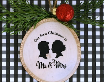 """Personalized """"Our First Christmas""""  Silhouette Rustic Wood Christmas Ornament - made with YOUR OWN Silhouettes"""