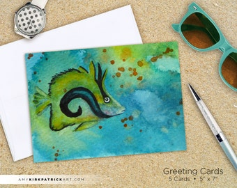 Tropical FISH Greeting Cards, 5x7 Note Cards, 5-Pack Note Cards, Fish Watercolor Art by Amy Kirkpatrick