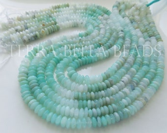 "8"" shaded aqua blue PERUVIAN OPAL faceted gem stone rondelle beads 6mm - 6.5mm"