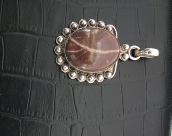 Brown Onyx Pendant, Natural Stone Pendant, Banded Onyx, Quartz Veins, Ornate Antiqued Silver Pendant, Fancy Detail Setting, Unusual Pendant