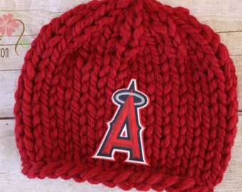 Anaheim Angels Knit Earflap Beanie, Newborn Photography Prop, Los Angeles Angels Baseball Team Newborn Baby Hat in Red