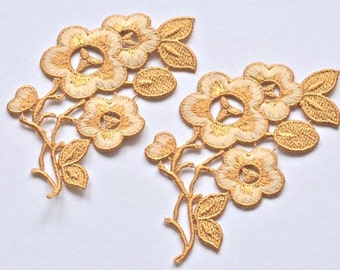 Goldenrod, Deep Ancient Gold, Large Embroidered Flower Appliques, Golden Flowers, Antique Gold, Gold Wedding Headpiece, Set of Two