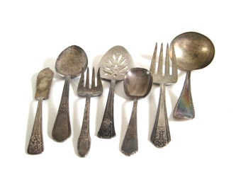 Tarnished Silver Serving Pieces Silverplate Silverware Gravy Ladle Meat Fork Butter Spreader Serving Spoon Pie Server Food Photography Props