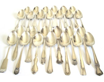 Silverplate Serving Spoons Antique Silver Spoons Mixed Mismatched Silverware Catering Supplies