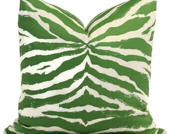 Quadrille China Seas Green Nairobi Animal Print Pillow Cover,  Square, Eurosham or Lumbar pillow Accent Pillow