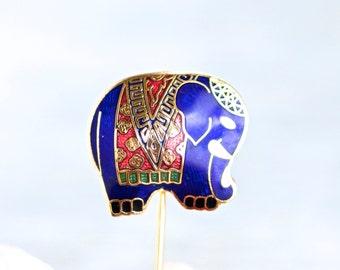 Elephant Stick Pin - Cute Animal Lapel Pin in Blue Enamels - Boho Jewelry