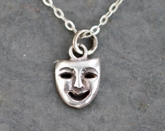 Drama Time Necklace - Tiny Theater Mask Pendant on Chain - Sterling Silver