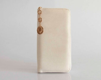 Handmade  Vegan Leather Wallet Purse Milk White - the simple square