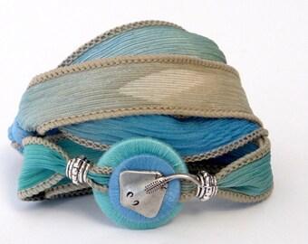 Silk Ribbon, Whirly Wrap, Wrap Bracelet, Nautical, Stingray, sea, sand, sky blue,  beach lover, silk wrap, secure magnet, marine jewlery