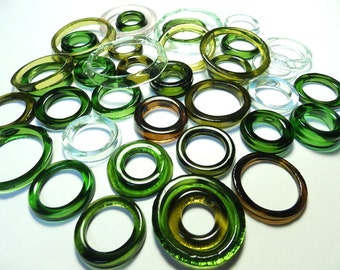 Recycled  Multi Colors Recycled Kiln Polished Bottle Rings 36 Rings (R938)