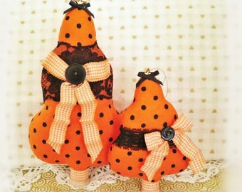 "Set of 2 Fabric Trees 7"" and  5"" Free Standing Orange Halloween Polka Dot Print Tree Ornaments Christmas Home Decor CharlotteStyle"
