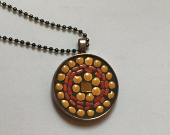 Yellow and red mosaic pendant