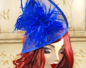 Royal Blue Fascinator, Cobalt Tea Party Hat, Kentucky Derby Hat, British Hat, Wedding hat, Church hat, British Hat