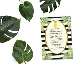Pineapple bridal shower invitation / printable aloha bridal shower invitation / pineapple shower invitation / tropical bridal shower invite