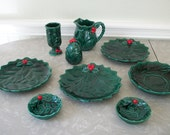Vintage Leftons Christmas Green Holy Berry Replacement 9 Pieces Creamer Saucer Nut Appetizer Plates Pepper Shaker made in Japan