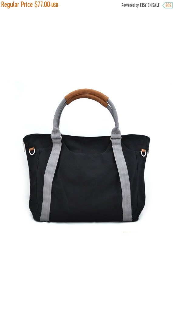 Summer Sale 20% OFF// HOLLY // Black with Grey Handle / Lined with Grey Stripes / 080 // Ship in 3 days // Diaper bag / Shoulder bag / Tote