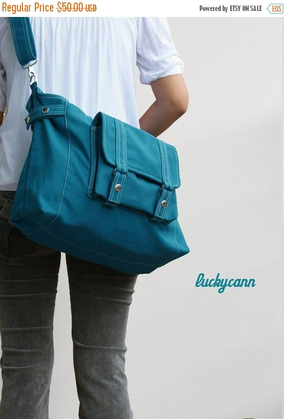 20% SALE back to school CARSON // Teal / Lined with Beige / 034 // Ship in 3 days // Messenger / Diaper bag / Shoulder bag / Tote bag / Purs