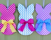 Bunny Wreath - Easter Door Hanger - Chevron Wreath - Customized For You