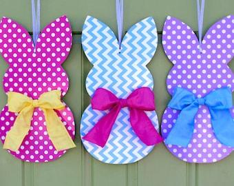 Bunny Wreath - Easter Door Hanger - Chevron Wreath - Customized For You