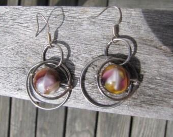 handmade earrings, beaded earrings, purple marble stone bead earrings, gold marble stone bead earrings, silver circle chain earrings