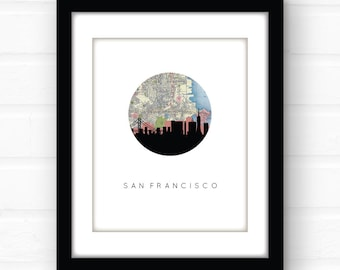 San Francisco art | San Francisco map | San Francisco skyline | San Francisco print | San Francisco wall art | Golden Gate Bridge art