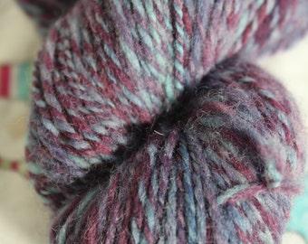 75gms Hand spun, hand dyed yarn, 100% wool, DK weight.