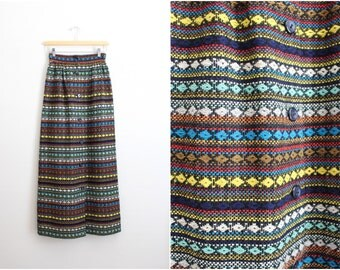 70s Vintage Southwestern High Waisted Maxi Skirt / Mexican Skirt / Bohemian skirt/ Size XS/S