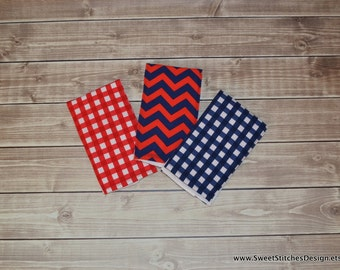 Baby Burp Cloths Boutique Navy Red Gingham Chevron Americana Classic Baby Burp Cloths Navy Red Burp Cloth Set