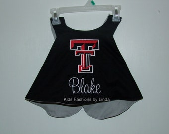 Personalized Reversible Black/Grey Pinafore with Ruffle Diaper Cover