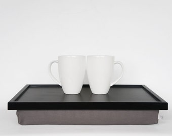 Breakfast serving tray, Laptop Lap Desk, laptop stand- black tray with warm grey Pillow