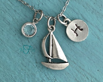 Sailboat Charm Necklace, Personalized Necklace, Silver Pewter Sailboat Charm, Custom Necklace, Swarovski Crystal birthstone, monogram