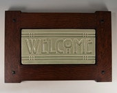 Welcome Tile - Arts & Crafts Mission Style Craftsman Frame - Celadon Green Crackle Gloss Glaze