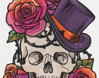 Hats Off Skull with a Top Hat and Roses Embroidered Flour Sack Hand Towel