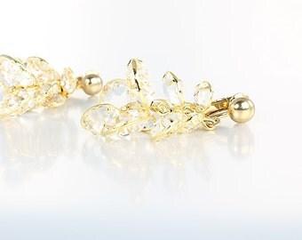 Bezel crystal Earrings, Clear Swarovski crystal Cluster Chandelier Earrings, vintage Bridal Bridesmaid jewelry