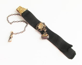 Antique Victorian Pocket Watch Chain with Amethyst Fob Gold Filled