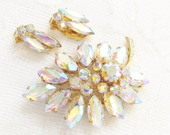 Vintage Juliana Large Rhinestone Flower Brooch Earrings 1960s