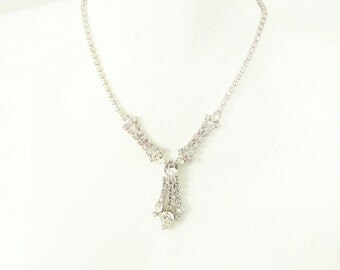 Vintage Clear Rhinestone Dangle Choker Necklace 50s